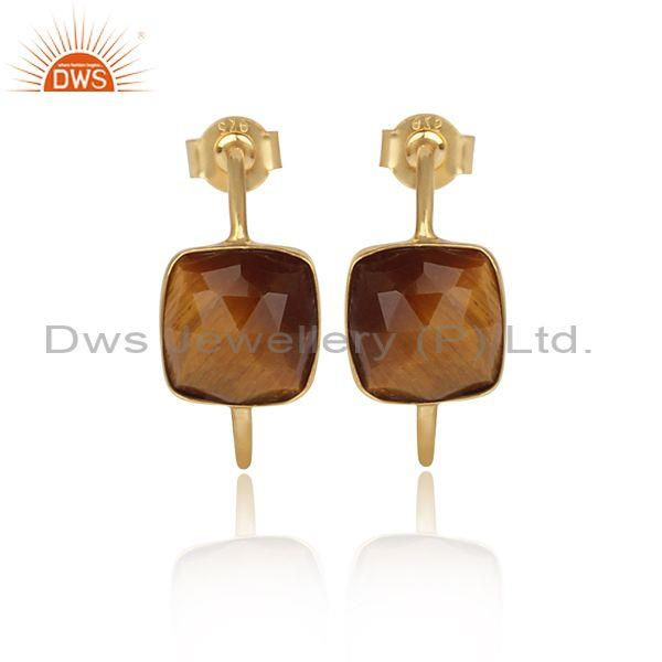 Square cut tiger eye set gold on sterling silver earrings