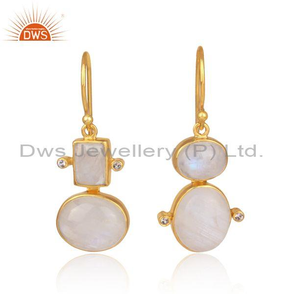Rainbow moon stone, white topaz set gold on silver earrings