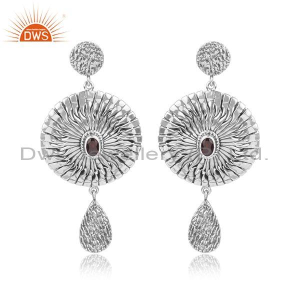 Garnet Set Oxidized Silver Handmade Round Long Drop Earrings