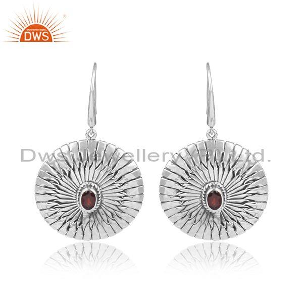 Garnet Set Oxidized Silver Handmade Round Earwire Earrings