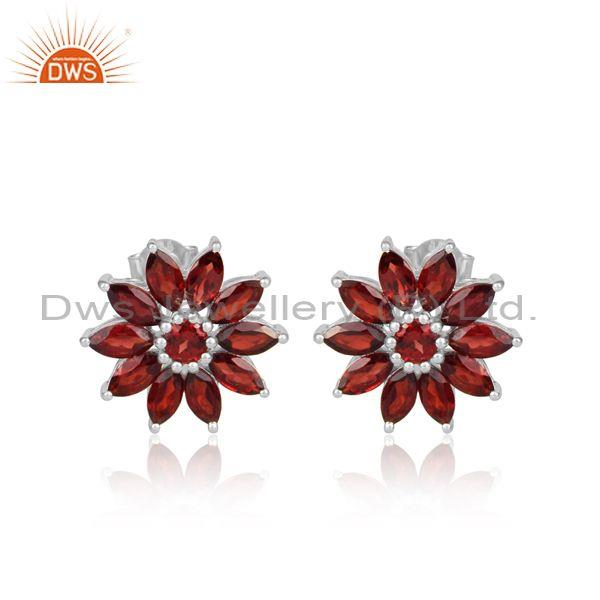 Garnet Set Fine 925 Silver Handmade Round Floral Earrings
