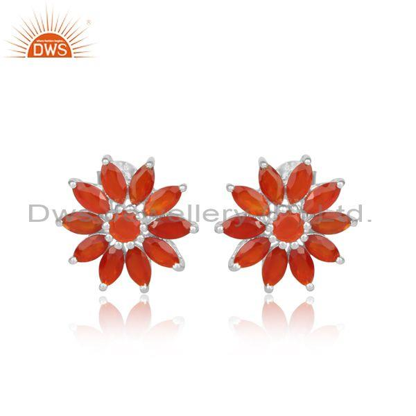 Red Onyx Set Fine 925 Silver Handmade Round Floral Earrings