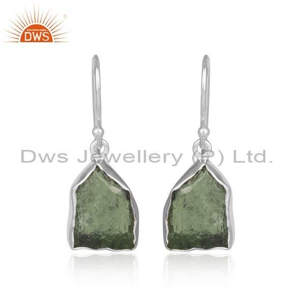 Moldavite set fine 925 silver classic earwire drop earrings