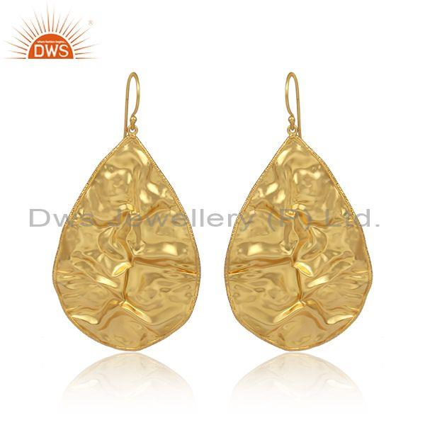 Handmade gold on sterling silver pear shaped foil earrings