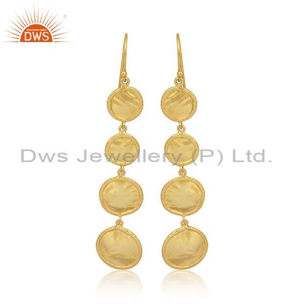 Handmade and handhammered gold on silver long drop earrings