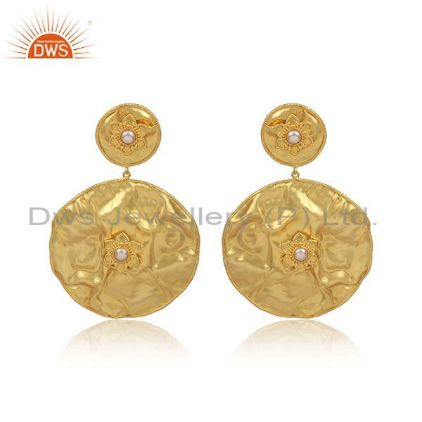 Handmade gold on silver pearl set casual round foil earrings