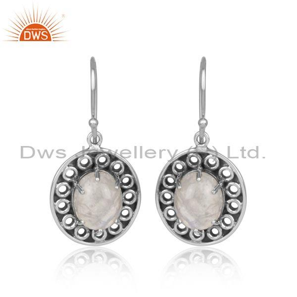 Rainbow moon stone set oxidized 925 silver round earrings