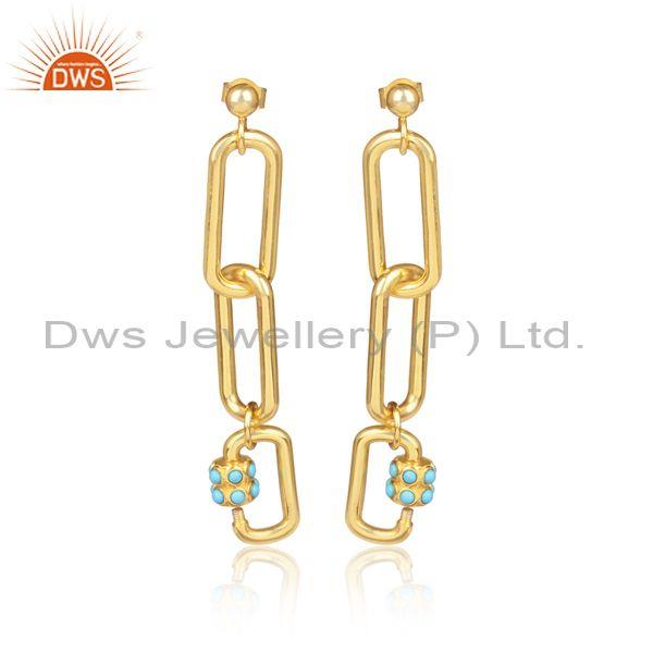 Arizona Turquoise Gold On Sterling Silver Long Drop Earrings