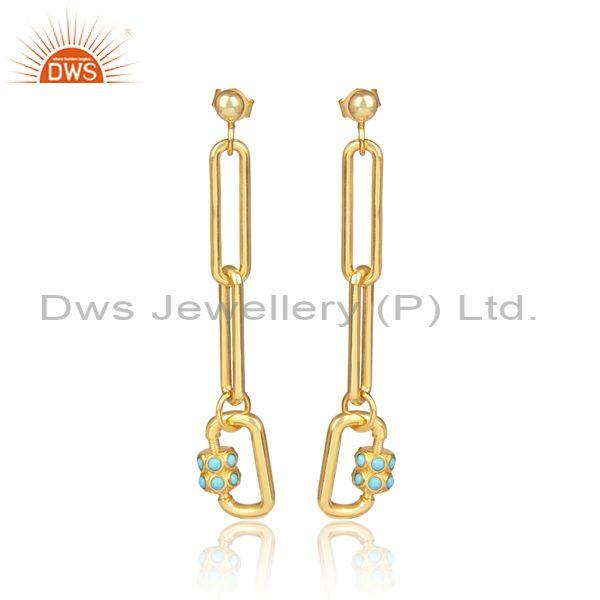 Arizona Turquoise Set Gold On Silver Link Type Drop Earrings