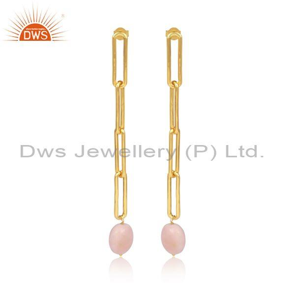 Pink Opal Set Gold On 925 Sterling Silver Long Drop Earrings