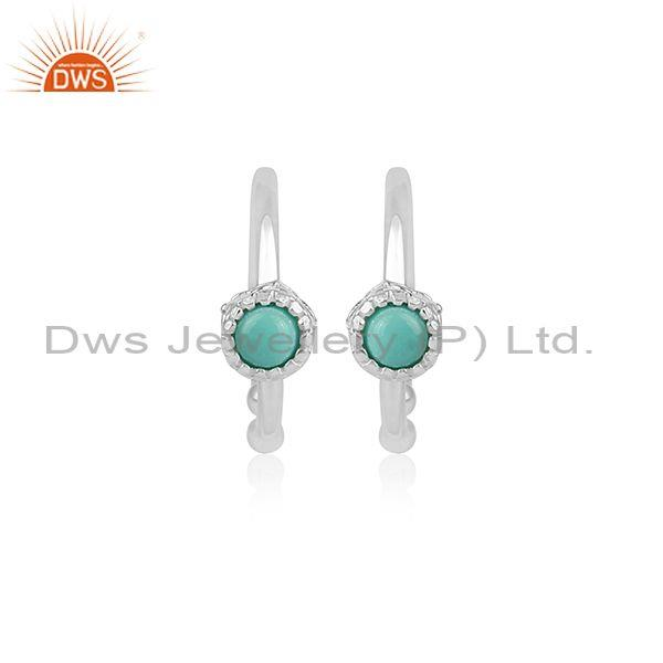 Arizona Turquoise Set Fine 925 Silver Round Hoop Earrings