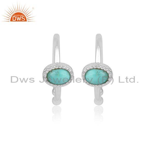 Oval Cut Arizona Turquoise Set Fine Silver Round Earrings