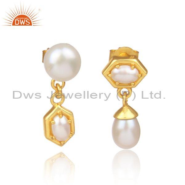 Pearls set gold on 925 silver honeycomb designer earrings