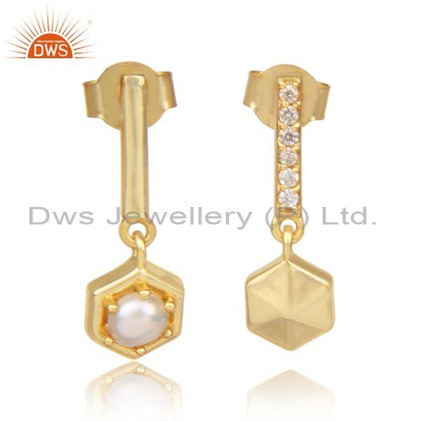 Cz and pearl set gold on 925 silver long statement earrings