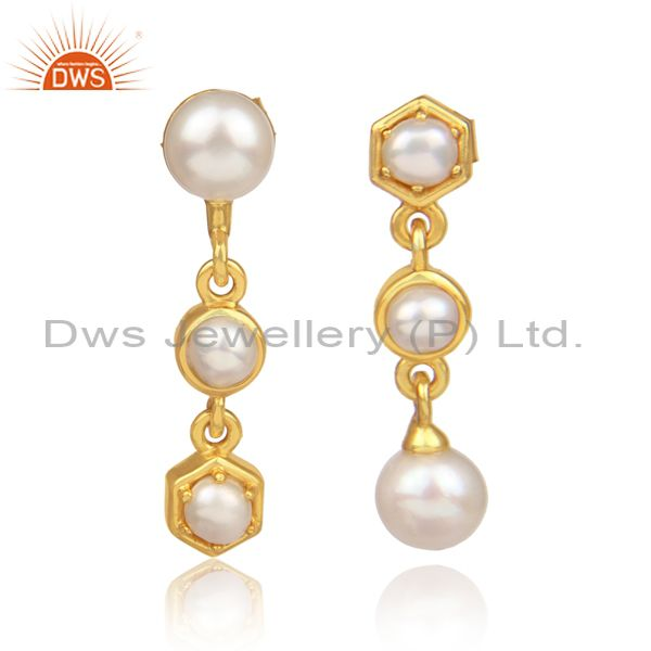 Pearls set gold on 925 silver long drop honeycomb earrings