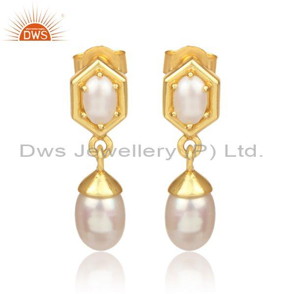 Pearls set gold on silver honeycomb statement drop earrings