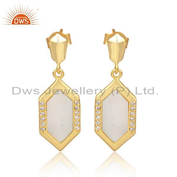 Mother Of Pearl And CZ Set Gold On Silver Hexagon Earrings