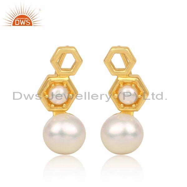Gold on silver pearls set long drop gold on silver earrings