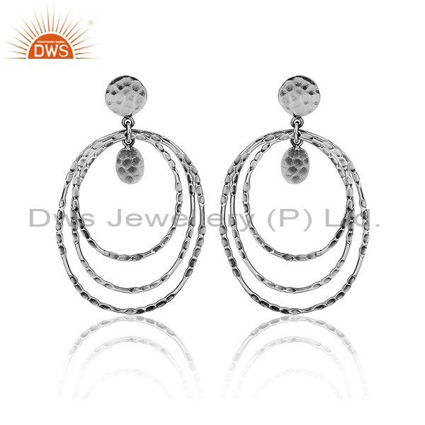 Oxidized Silver Textured Round Hoop Classy Handmade Earrings
