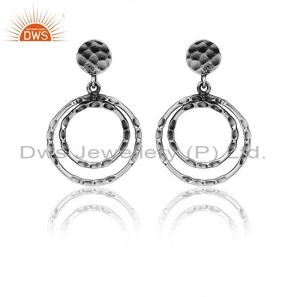 Oxidized 925 Silver Textured Round Shaped Handmade Earrings