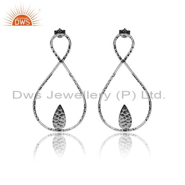 Oxidized 925 Silver Abstract Geometric Textured Earrings