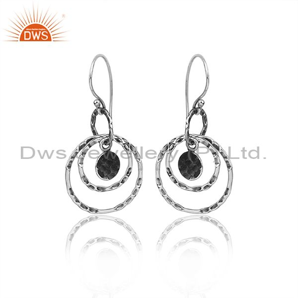 Oxidized 925 Silver Round Hoops Textured Earwire Earrings