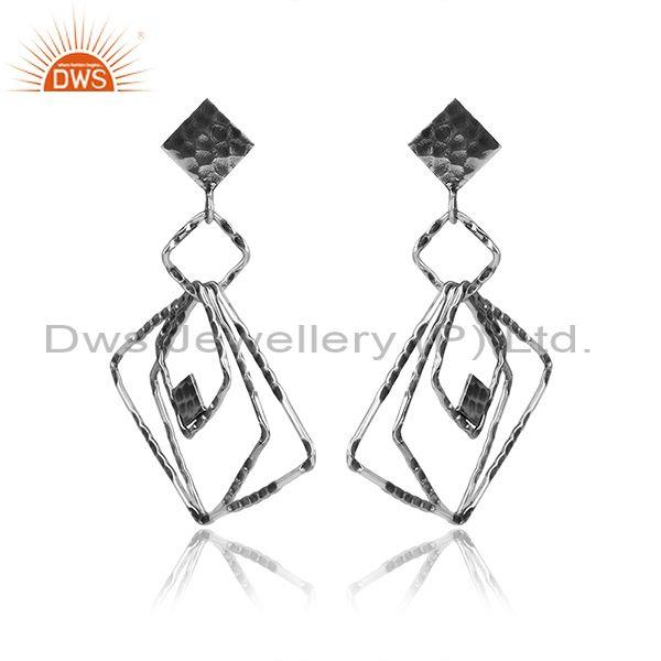 Oxidized 925 Silver Rectangular Geometric Textured Earrings