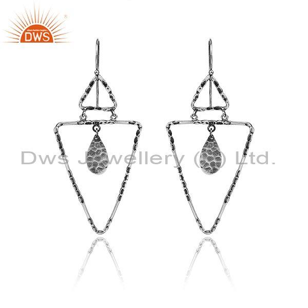 Triangular Textured Oxidized Silver Geometric Drop Earrings