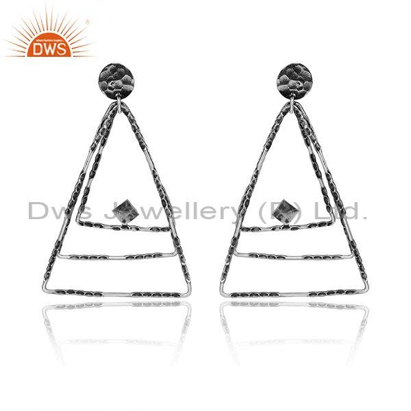 Textured Oxidized Silver Triangular Hoop Long Drop Earrings