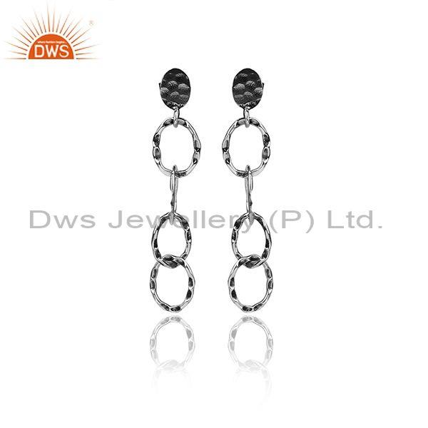 Handmade Textured Oxidized Silver Round Long Drop Earrings