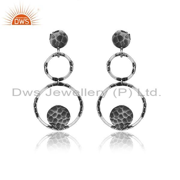 Handmade Round Textured Oxidized Silver Long Drop Earrings