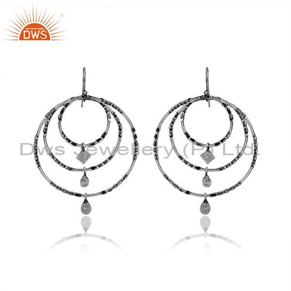 Handmade Oxidized Silver Geometric Round Shape Hoop Earrings