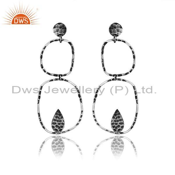 Handmade Textured Oxidized Silver Abstract Long Drop Earrings