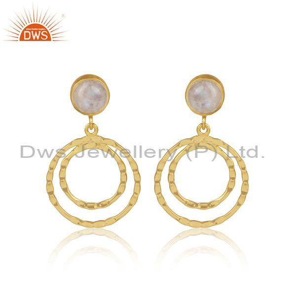 Rainbow moon stone set gold on silver small round earrings
