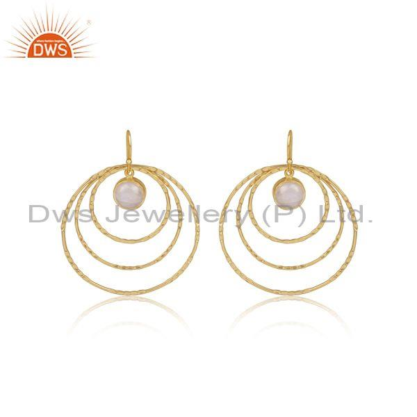 Rainbow moon stone set gold on silver round earwire earrings