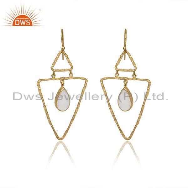 Rainbow Moon Stone Set Gold On 925 Silver Triangle Earrings