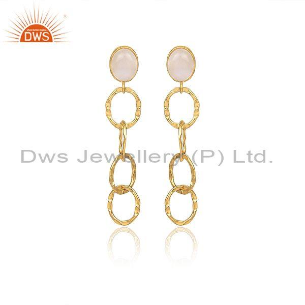 Rainbow Moon Stone Set Gold On Silver Round Long Earrings