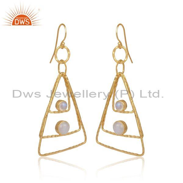 Rainbow moon stone set gold on silver triangle hoop earrings