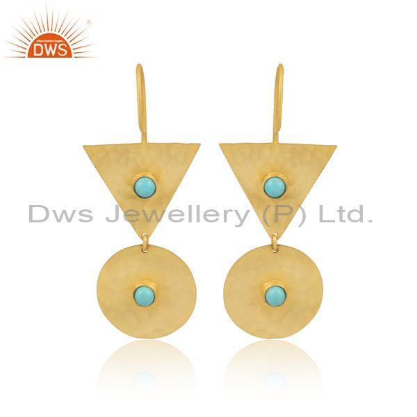 Arizona Turquoise Round And Triangle Gold On Silver Earrings