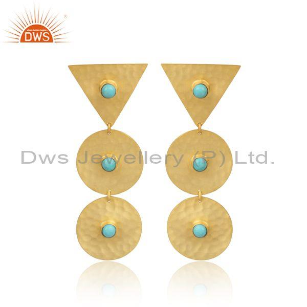 Gold On Silver Arizona Turquoise Set Triangle Long Earrings
