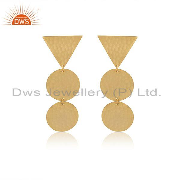 Gold On 925 Silver Triangular And Round Boho Drop Earrings
