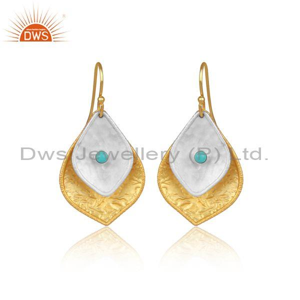 Arizona Turquoise Gold On Fine Silver Petal Shaped Earrings