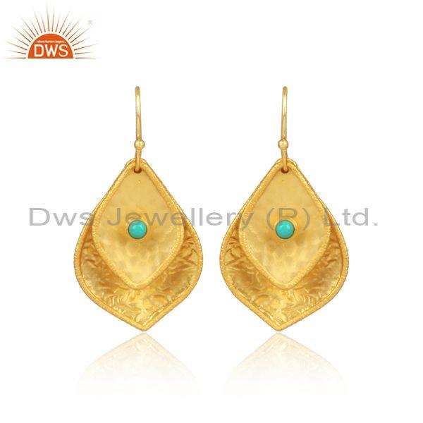 Arizona Turquoise Set Gold On Silver Petal Shaped Earrings