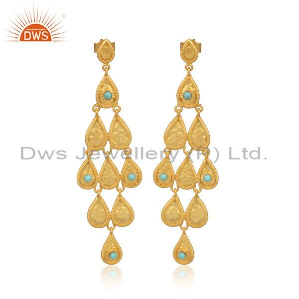 Arizona Turquoise Set Gold On Silver Chandelier Earrings