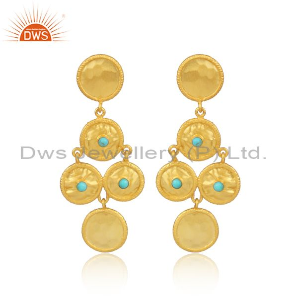 Arizona Turquoise Set Gold On 925 Silver Round Long Earrings