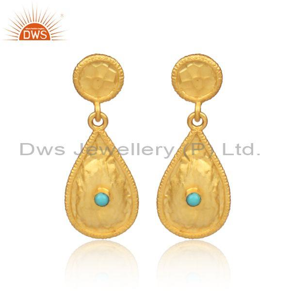 Arizona Turquoise Set Gold On 925 Silver Tear Drop Earrings