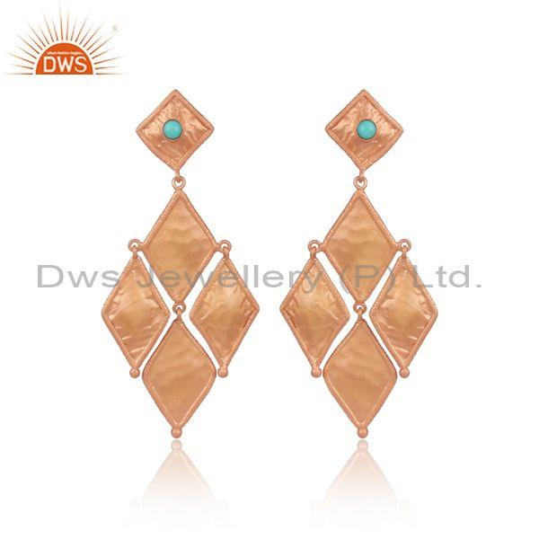 Arizona Turquoise Set Rose Gold On Silver Rhombus Earrings