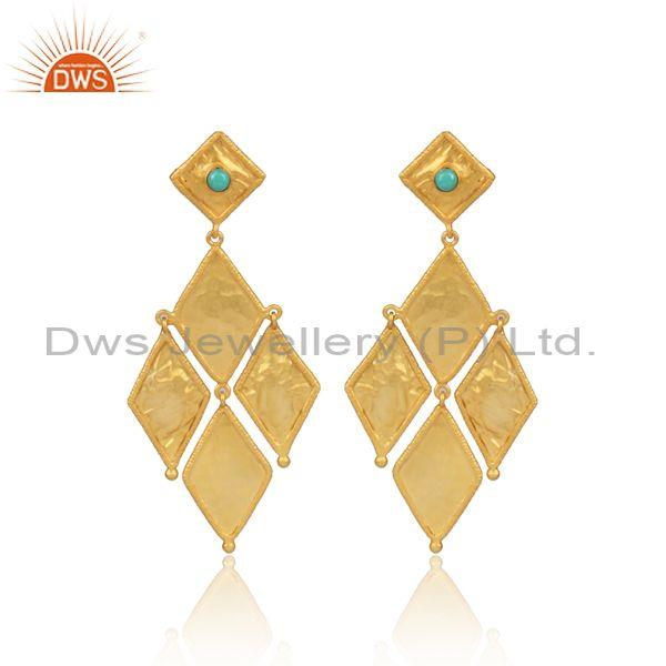 Arizona Turquoise Set Gold On Silver Rhombus Long Earrings
