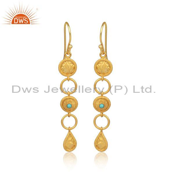 Classy Gold On Silver Arizona Turquoise Chandelier Earrings
