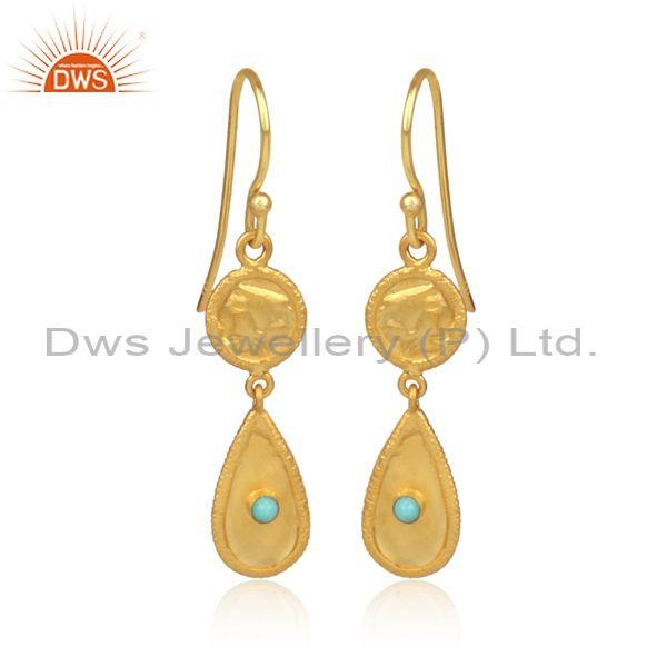 Classy Gold On Silver Arizona Turquoise Long Drop Earrings